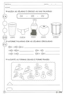 Atividades de alfabetização letra c