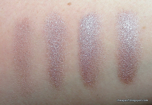 Urban Decay Midnight Cowboy over no primer, Black Radiance eyeshadow primer, NYX Glitter Primer, and Too Faced Glitter Glue