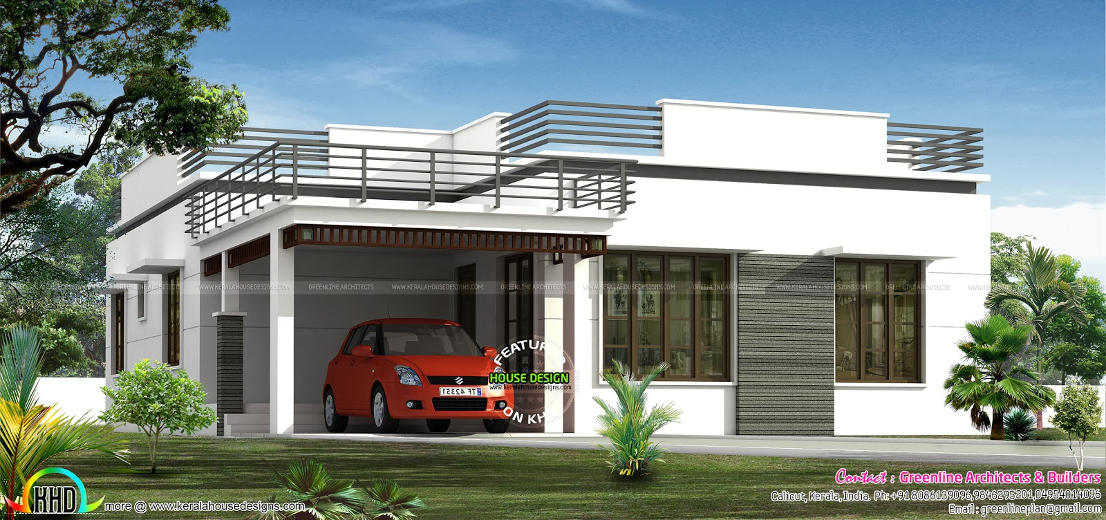 Flat roof single floor home in 1300 sq ft kerala home for Indian house portico models