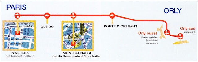Paris Taxi Route from Orly Airport to Paris