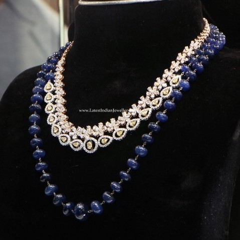 Diamond Necklace with Blue beads