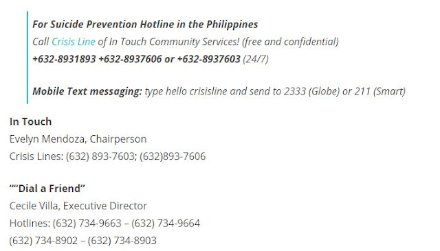 Suicide prevention hotlines in the Philippines