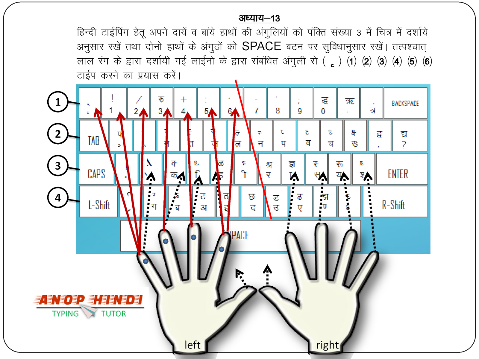 Anop Hindi Typing Tutor - Lesson 13