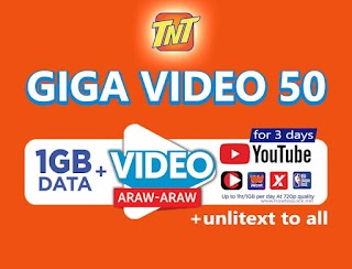 TNT GIGA Video 50 – 1GB Data + 1GB per Day for Video, Unlitext to All for 3 Days