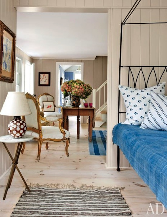 beach house, Hamptons style, rustic wood paneling, blue striped rug