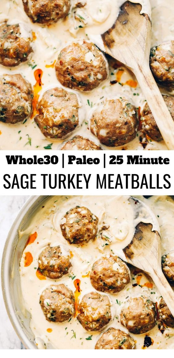 Turkey Sausage Meatballs In Sage Cream Sauce