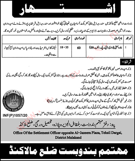 Settlement Office Malakand Patwari Jobs March 2020 KPK