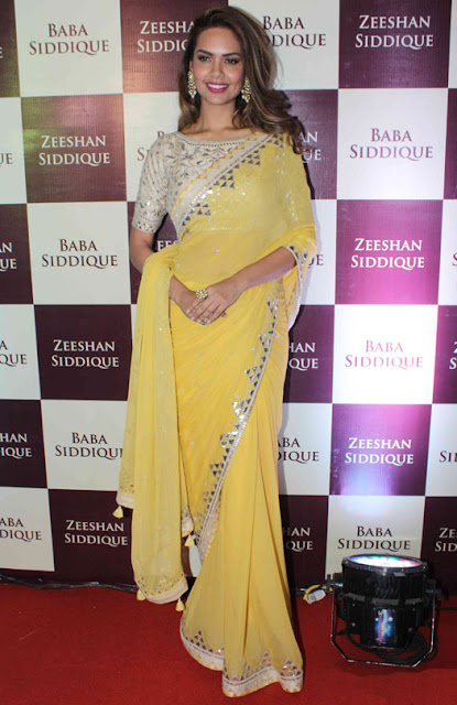 Esha Gupta in Yellow Chiffon Saree at Baba Siddique's Iftar Party