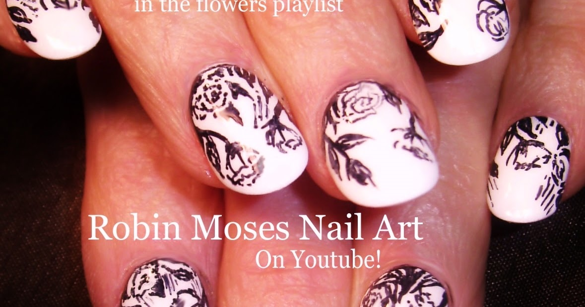 Nail art by robin moses black and white nail hack sharpie roses perfect for fall