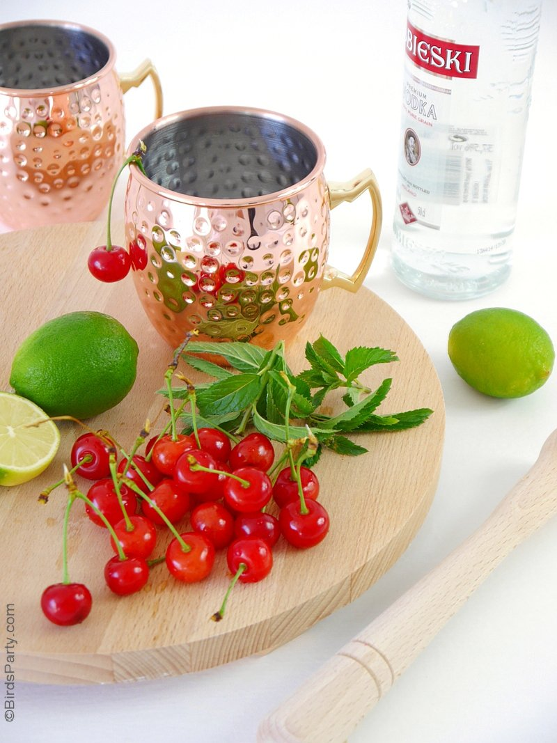 cherry moscow mule cocktail recipe party ideas party printables blog. Black Bedroom Furniture Sets. Home Design Ideas