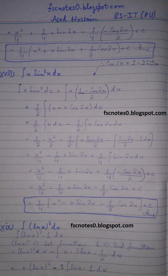 FSc ICS Notes Math Part 2 Chapter 3 Integration Exercise 3.4 Question 1 Asad Hussain 10