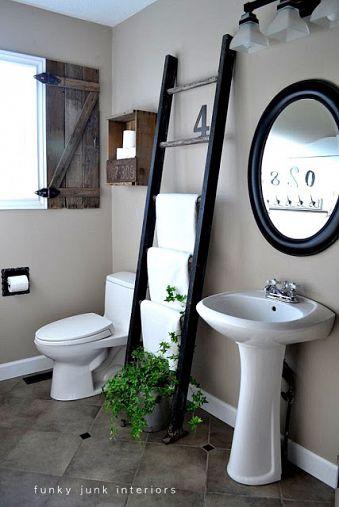 Ladder towel holder for a bathroom, via Funky Junk Interiors
