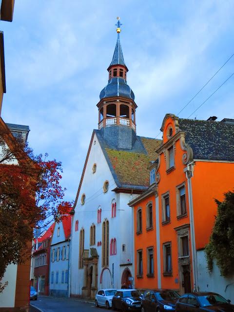 Church spire in Speyer Germany on a day trip en route from Heidelberg to Frankfurt