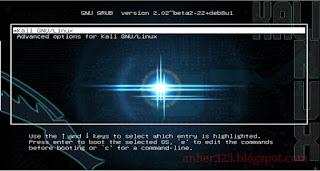 GRUB Kali Linux Setelah diganti Background