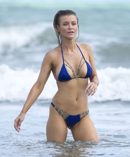 Joanna Krupa in Blue Bikini on the beach in Miami