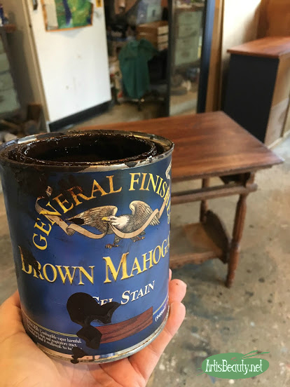 general finishes brown mahogany gel stain wicked emerald library table makeover