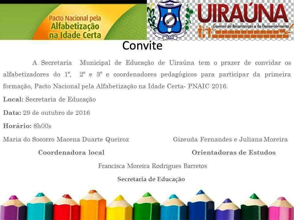 Uiraúna Educa Com Amor Pnaic 2016 Convite