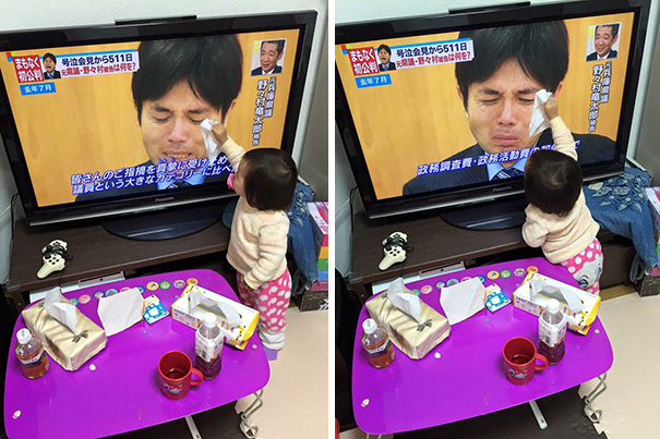 #7 Baby Trying To Dry The Tears Of A Japanese Politician - 12 Kids Who'll Restore Your Faith In Humanity