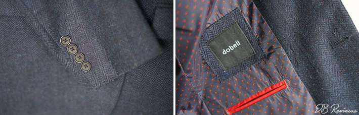 Dobell Dark Blue Herringbone Tweed Jacket