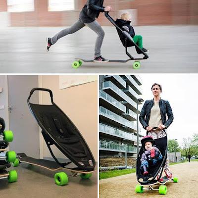 Skate y carrito de bebé