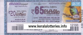 Kerala lottery result of Akshaya _AK-86 on 15 May 2013