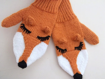 Knit Fox Mittens Gloves