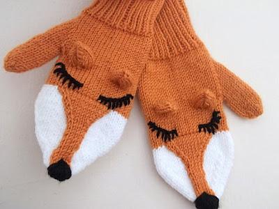 Knit Fox Mittens Gloves