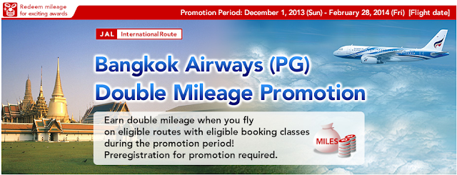 JAL Mileage Bank members will earn double miles on qualifying Bangkok Airways flights