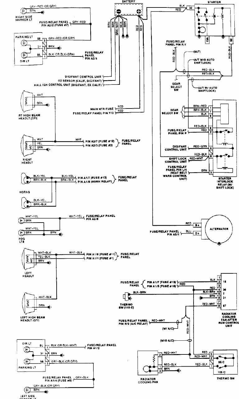 Volkswagen Golf GTI 1992 Engine Compartment Wiring Diagram
