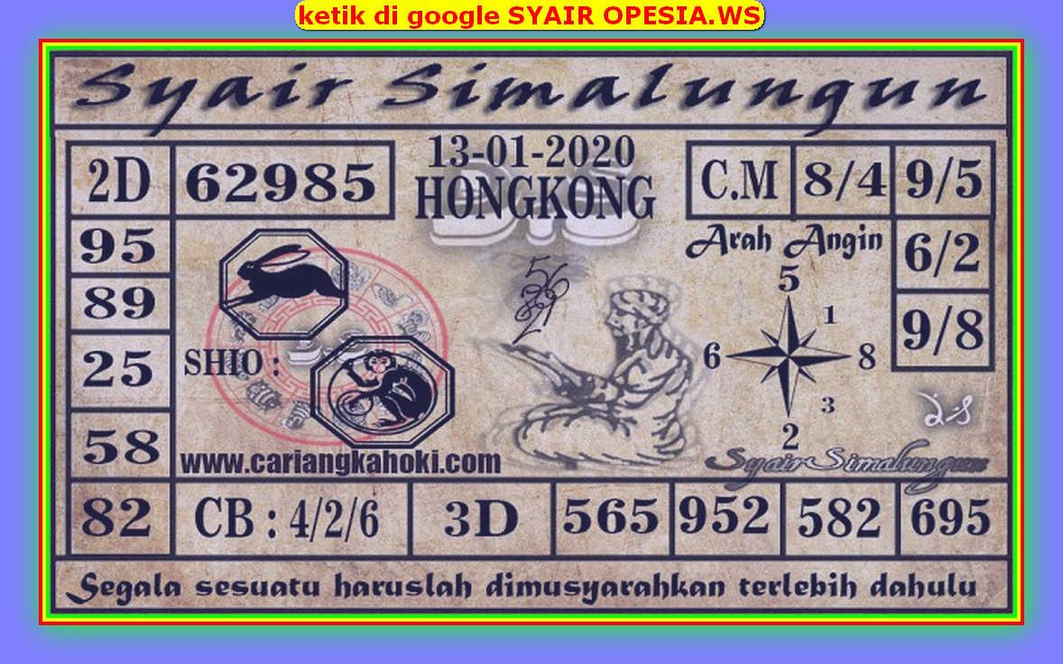 Kode syair Hongkong Senin 13 Januari 2020 192