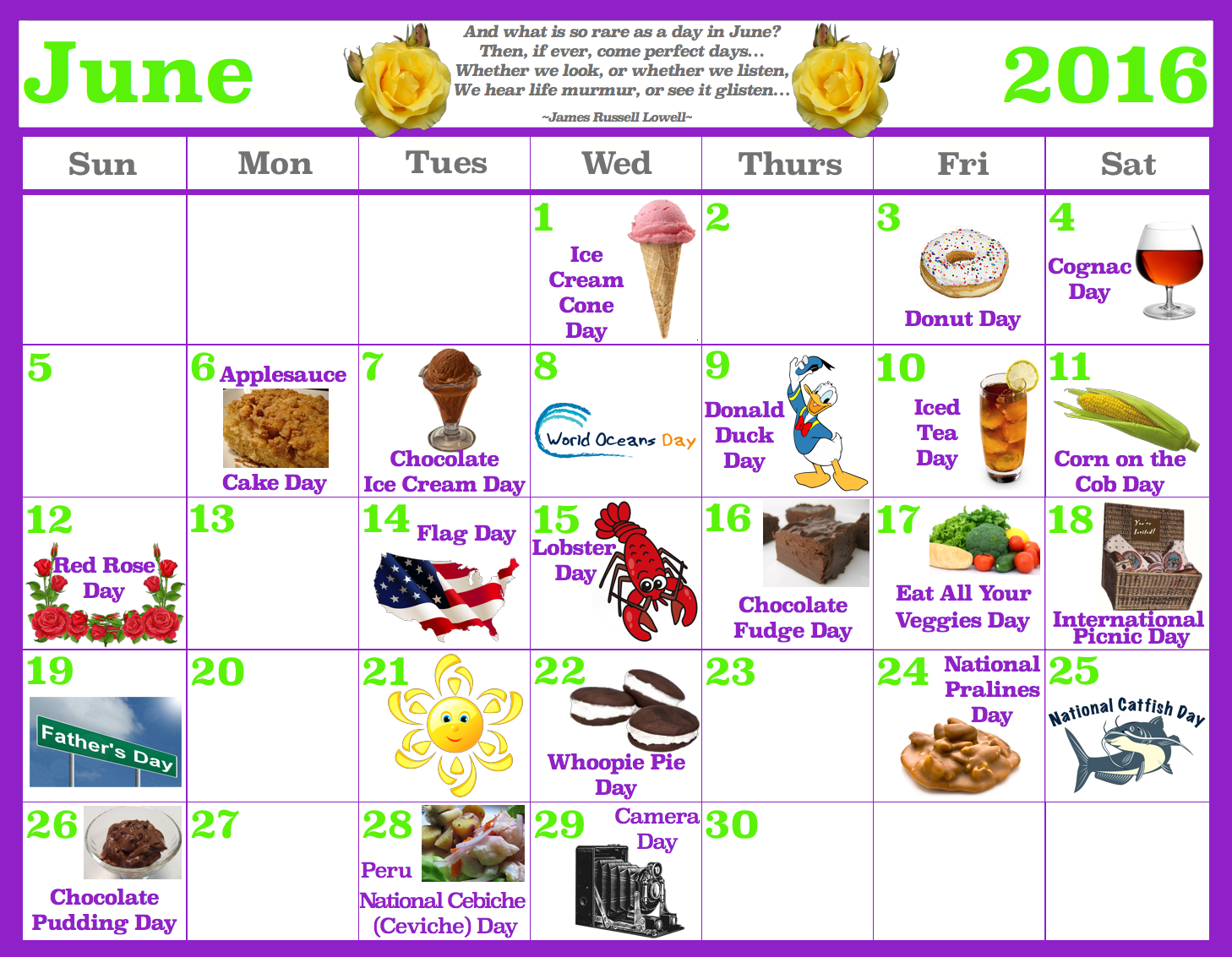 June Food Celebrations