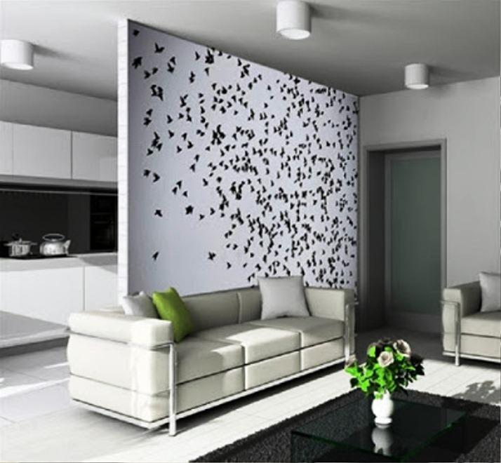 Contoh Motif Wallpaper Dinding Hitam Putih Untuk Ruang Tamu Cantik Minimalis