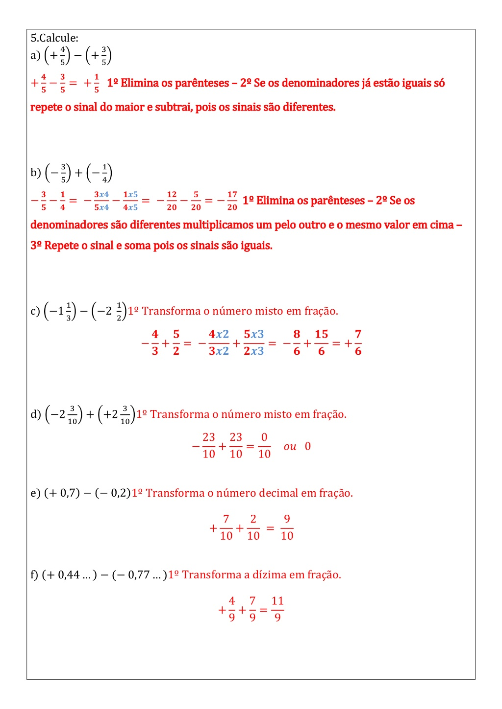 Lista Resolvida De Numeros Racionais 7º Ano Atividades De Matematica