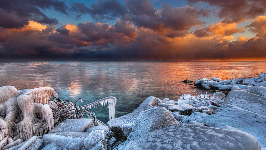 Free Download Winter Sunset HD Wallpapers for iPhone 5 ...