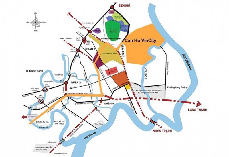 Vị trí dự án Vincity New Saigon Quận 9