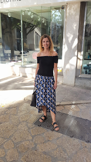 Falda larga estampada handmade