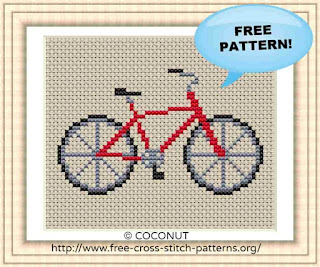 BICYCLE , FREE AND EASY PRINTABLE CROSS STITCH PATTERN