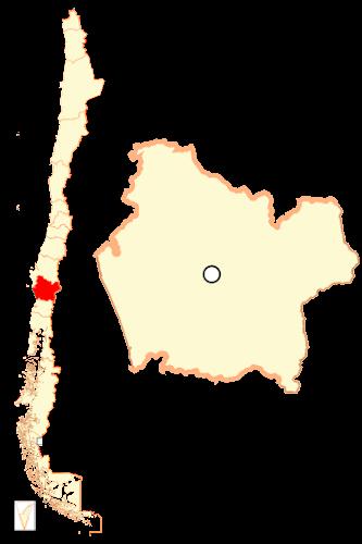 Mapa de localização da região de Araucania - Chile