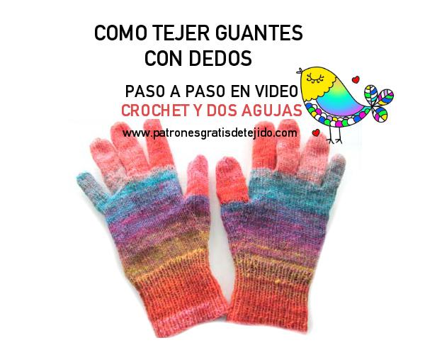 Como tejer guantes al crochet  y guantes dos agujas videos paso a paso