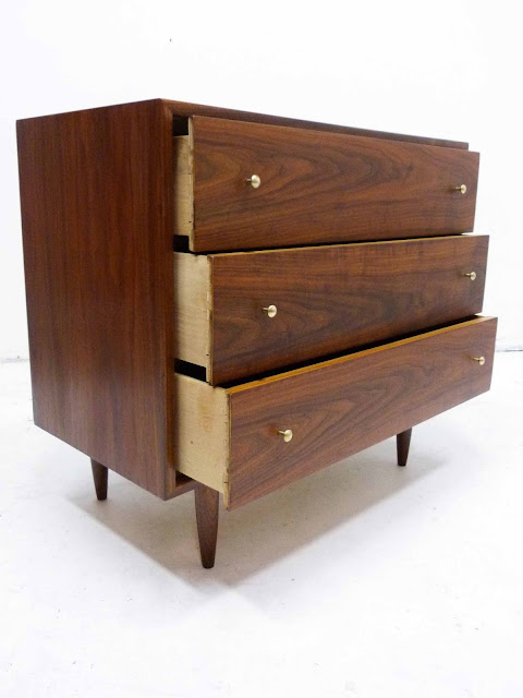 Three-Drawer Mid-Century Modern Walnut Bachelor Dresser Chest Dovetail Drawers