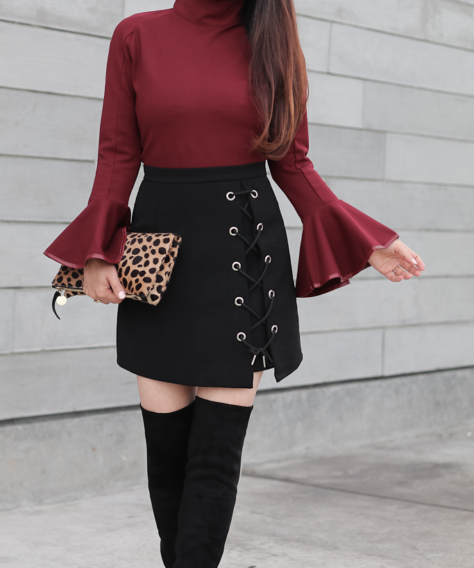 Stylish Tie Bud Skirt in Black