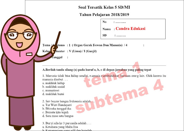 Soal Tematik Kelas 5 Tema 1 Subtema 4 Kurikulum 2013
