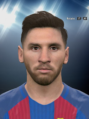 PES 2016 Lionel Messi Face With Beard by F(arda)