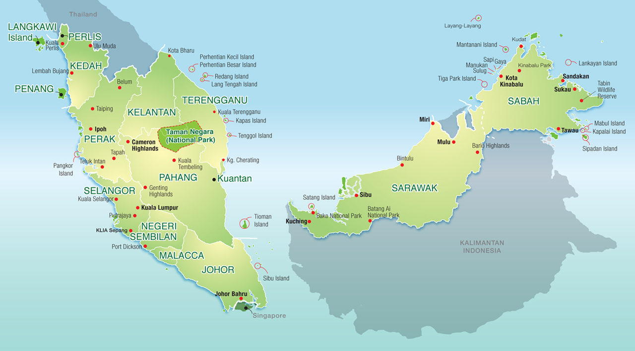 map of the country malaysia