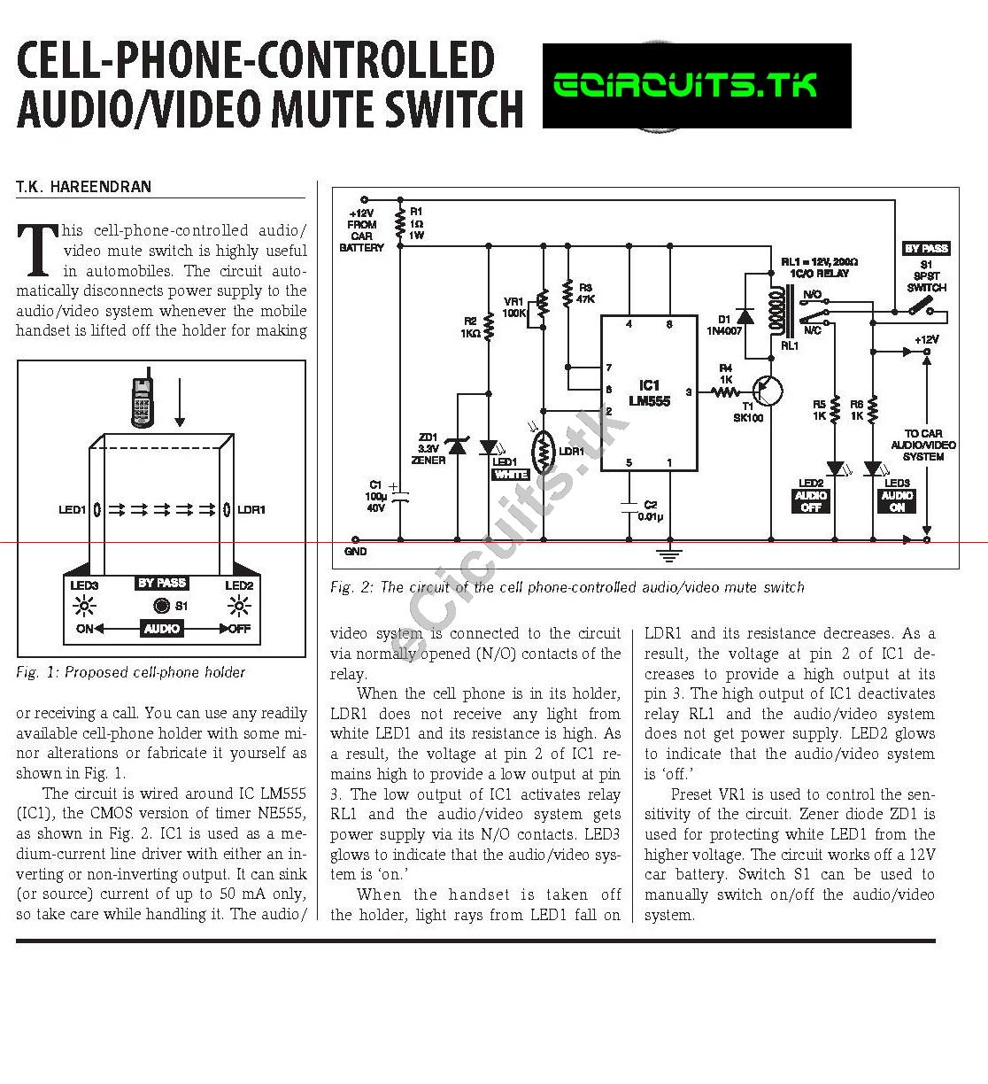 Cell Phone Controlled Audio Video Switch Electronics
