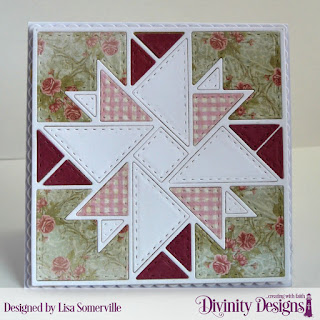 Divinity Designs Custom Dies: Quilted Triangles, Squares, Scalloped Squares, Paper Collection: Shabby Rose, Soulful Stitches