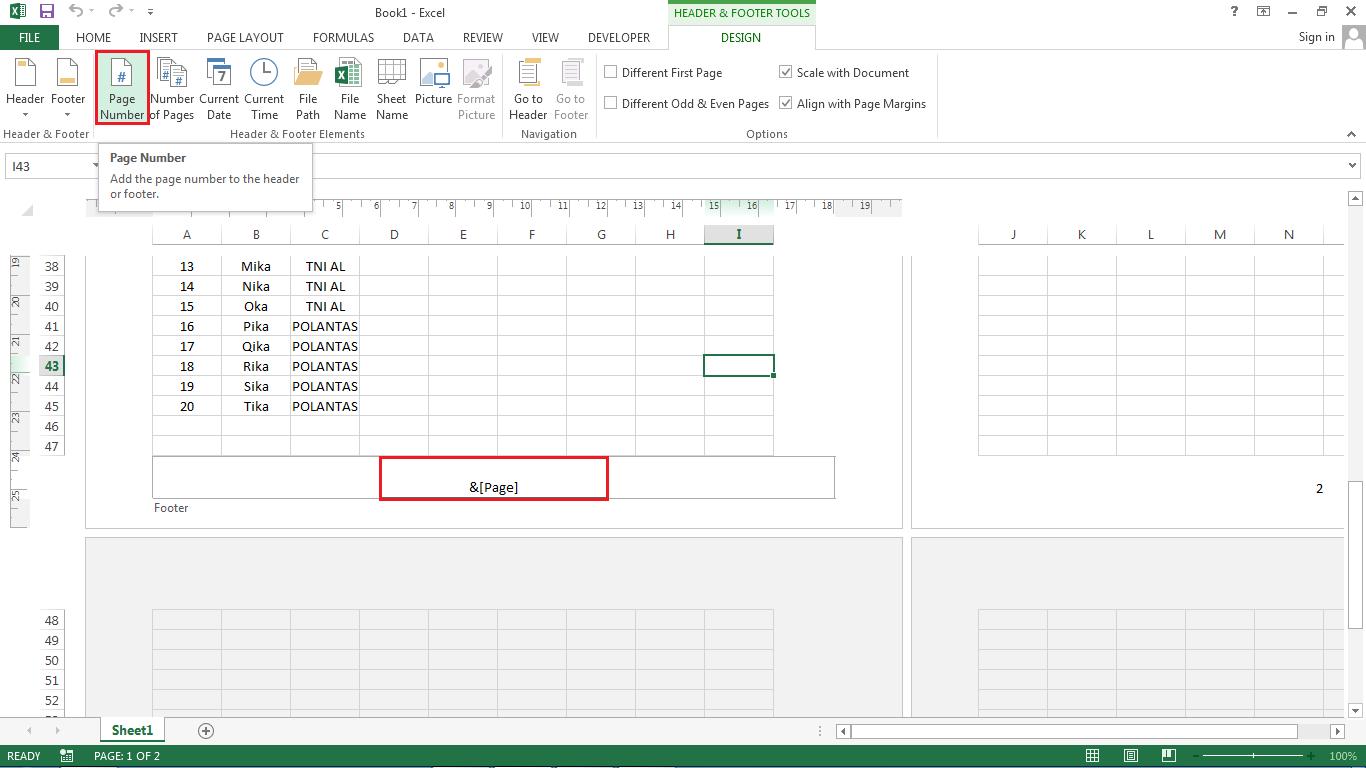 Cara Memasukkan Tanggal Dan Nomor Halaman Ke Hasil Printout Excel
