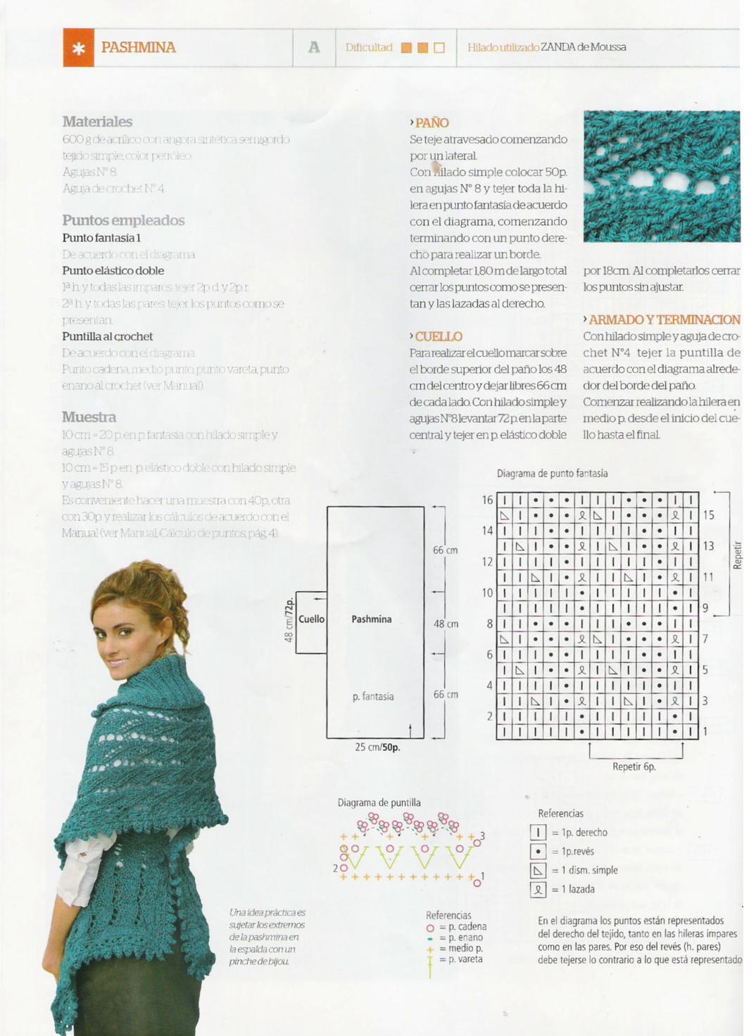 Pashmina Tricot-Crochet Instrucciones