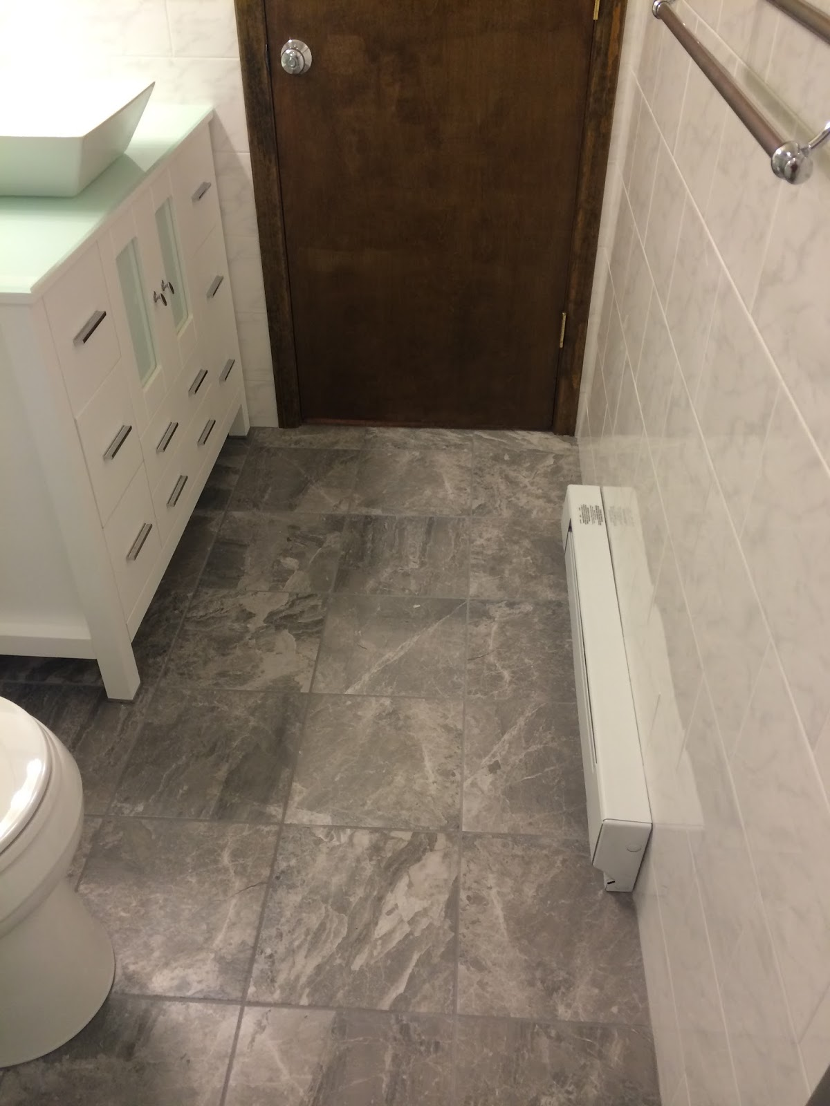 12 X12 Grey Tone With White Veined Porcelain Tile Floor
