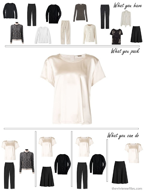 adding a silk top to a black, white and beige travel capsule wardrobe